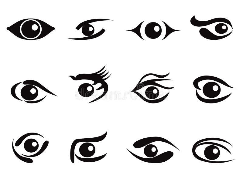 Jogo do ícone dos olhos do sumário ilustração stock