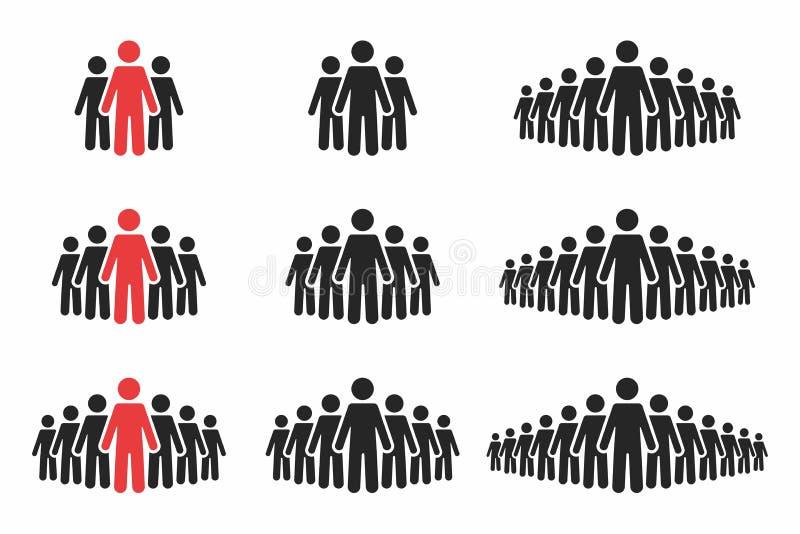 Jogo do ícone dos povos Multidão de povos em cores pretas e vermelhas Grupo de pessoas na forma do pictograma ilustração do vetor