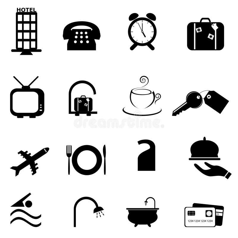 Jogo do ícone dos símbolos do hotel ilustração do vetor
