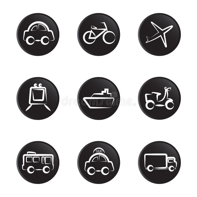 Jogo do ícone dos veículos ilustração stock
