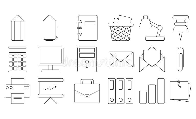 Jogo do ícone do escritório Linha fina projeto editável stationery Ícones do esboço do vetor Isolado Fundo branco foto de stock