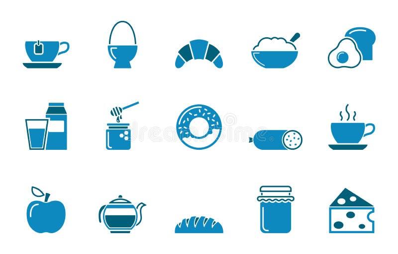 Jogo do ícone do pequeno almoço ilustração royalty free