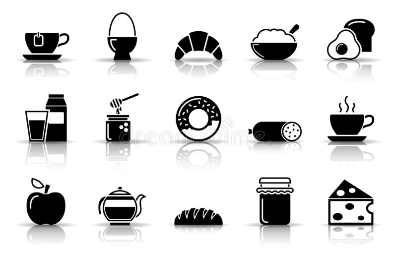 Jogo do ícone do pequeno almoço ilustração do vetor