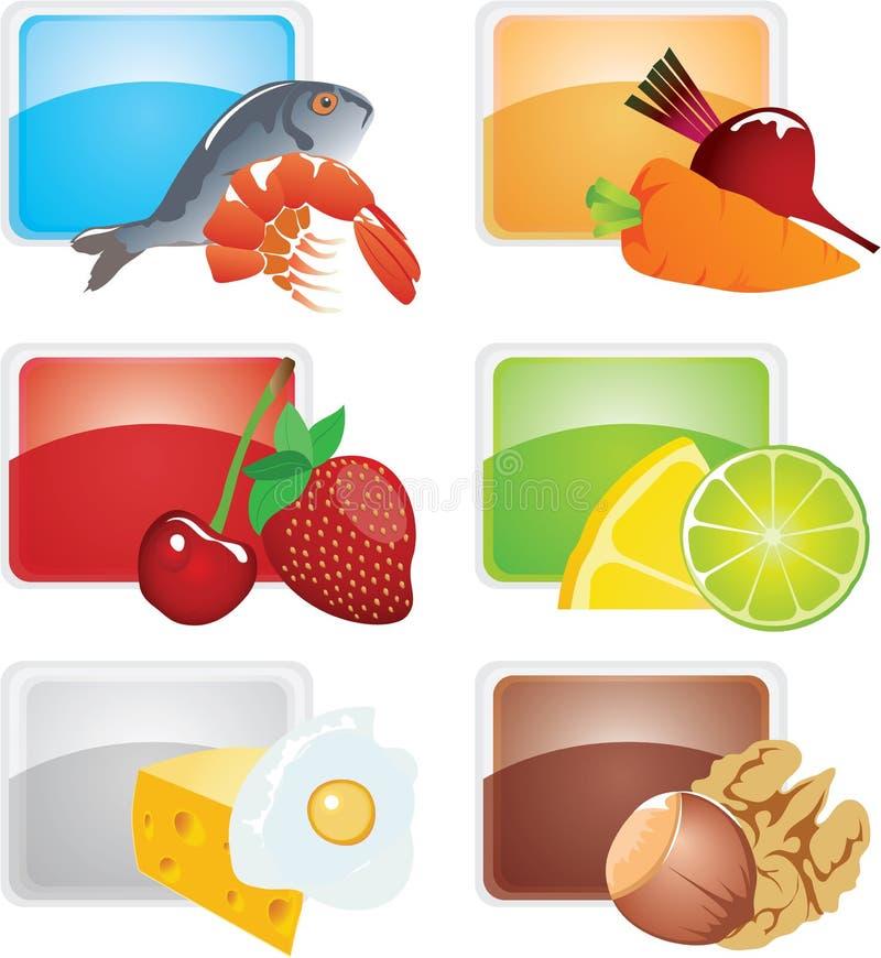 Jogo do alimento - ícones do vetor ilustração stock