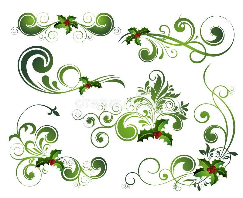 Jogo do azevinho do Natal do vetor ilustração stock