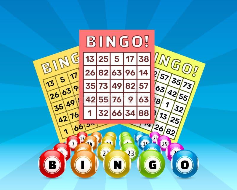 Jogo do bingo da loteria, bolas com números e ilustração do vetor