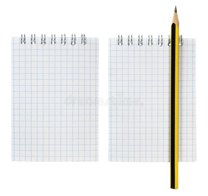 Jogo do bloco de notas e do lápis imagens de stock