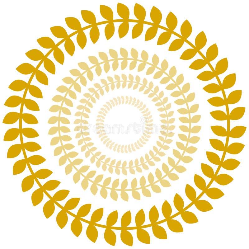 Jogo do círculo da grinalda do louro do ouro ilustração royalty free