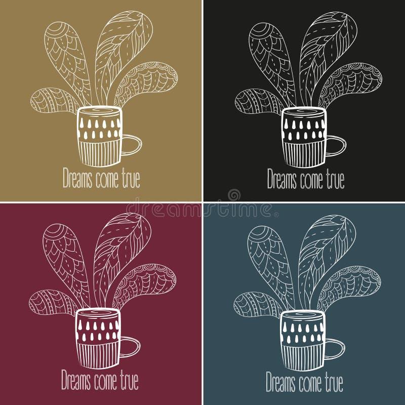 Jogo do café ou de chá Os sonhos vêm texto verdadeiro ilustração do vetor