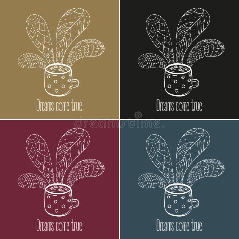Jogo do café ou de chá Os sonhos vêm texto verdadeiro ilustração stock