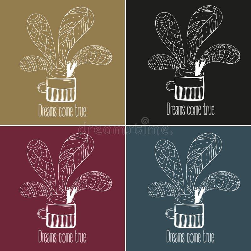 Jogo do café ou de chá Os sonhos vêm texto verdadeiro ilustração royalty free