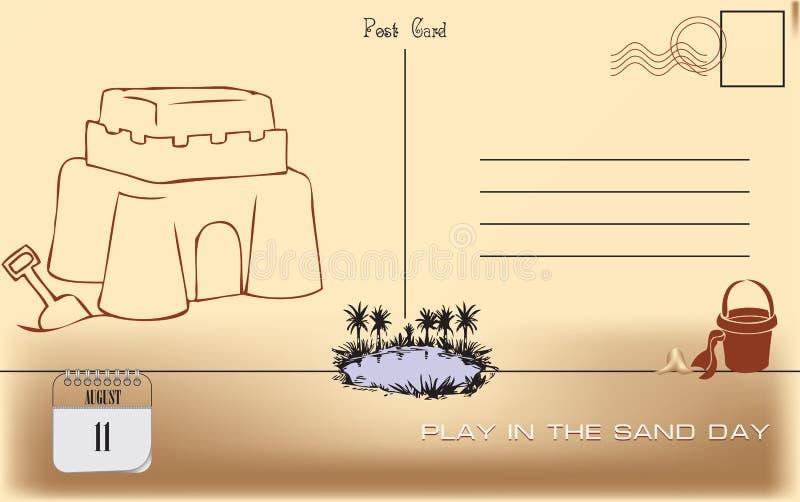 Jogo do cartão no dia da areia ilustração royalty free