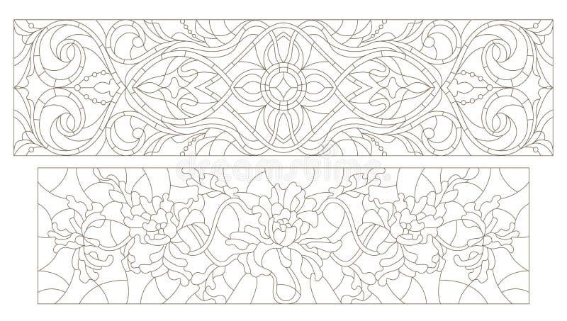 Jogo do contorno do vitral com redemoinhos do sumário e flores, orientação horizontal ilustração stock