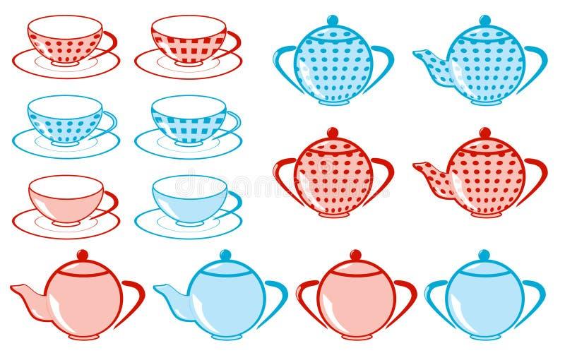Jogo do copo de chá, teakettle fotos de stock royalty free