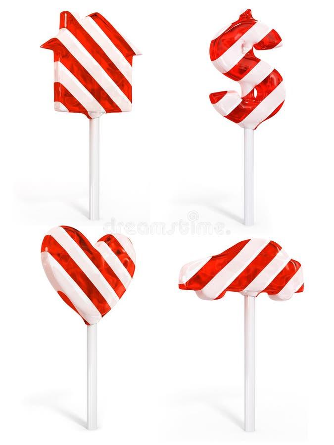 Jogo do coração e do carro doces do dólar da casa dos doces ilustração stock