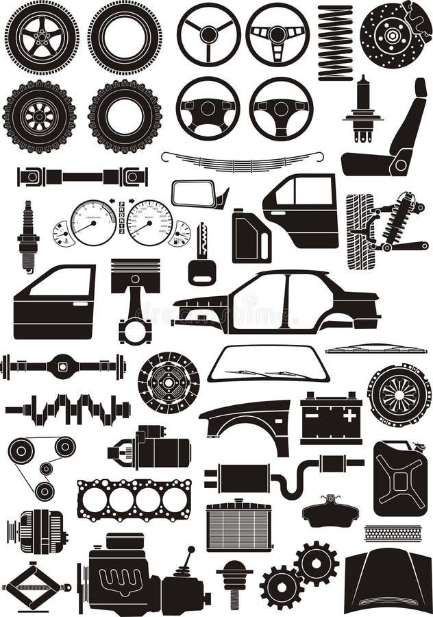 Jogo do detalhe do carro ilustração do vetor