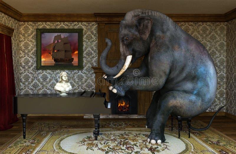 Jogo do elefante, jogando o piano, lições de música foto de stock