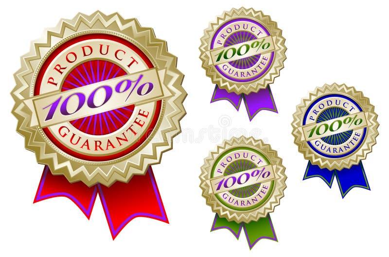 Jogo do emblema 100% colorido da garantia do produto quatro ilustração do vetor
