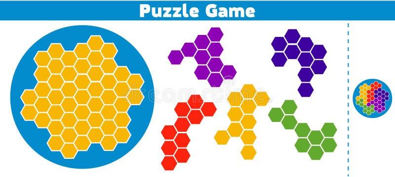 Jogo do enigma completo o jogo da lógica da educação do teste padrão para crianças prées-escolar Ilustração do vetor ilustração stock