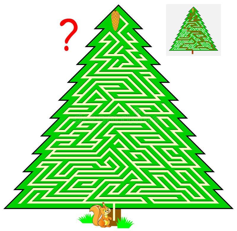 Jogo do enigma da lógica com o labirinto para crianças e adultos Ajude o esquilo a encontrar a maneira ao cone de abeto ilustração stock