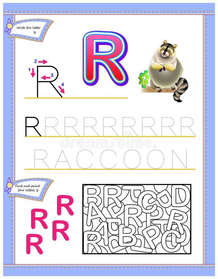 Jogo do enigma da lógica Habilidades tornando-se das crianças para escrever e ler ilustração royalty free