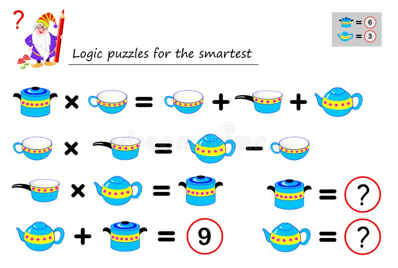 Jogo do enigma da lógica matemática para que a necessidade a mais esperta calcule o valor dos pratos Página imprimível para o liv ilustração royalty free
