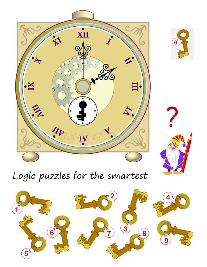 Jogo do enigma da lógica para a ajuda a mais esperta o feiticeiro para encontrar a chave correta para ligar o pulso de disparo an ilustração royalty free