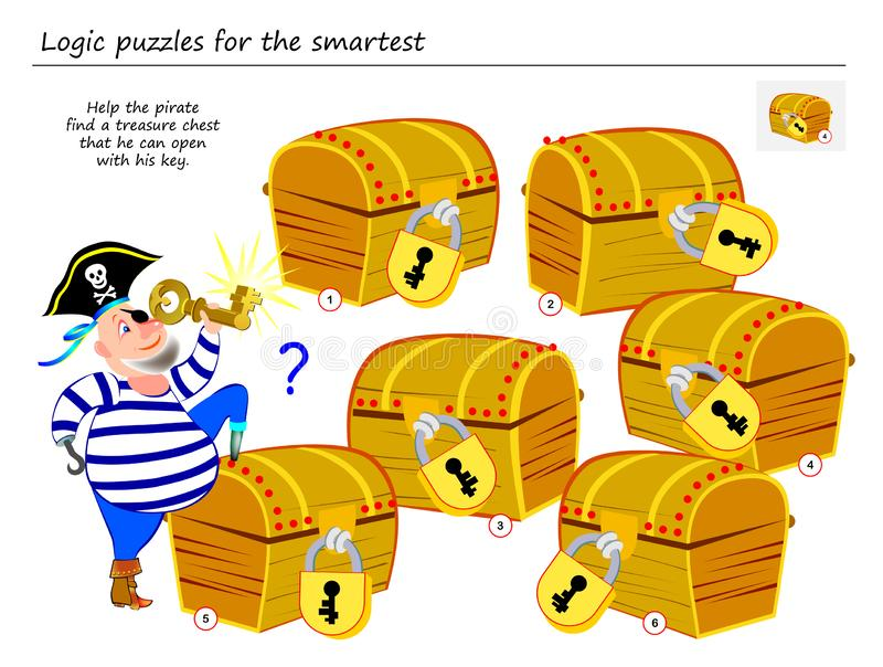 Jogo do enigma da lógica para a ajuda a mais esperta o pirata para encontrar uma arca do tesouro que pode abrir com sua chave ilustração do vetor