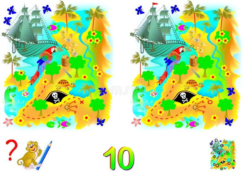 Jogo do enigma da lógica para crianças e adultos Necessidade de encontrar 10 diferenças Habilidades tornando-se para contar ilustração do vetor