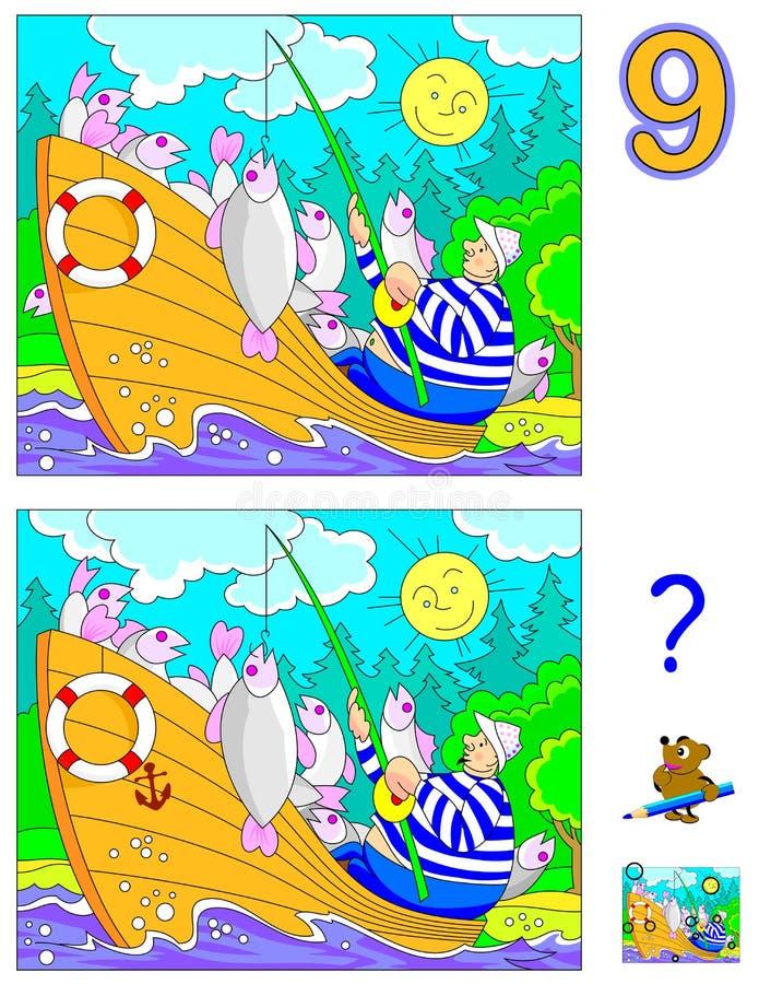 Jogo do enigma da lógica para crianças e adultos Necessidade de encontrar 9 diferenças Habilidades tornando-se para contar ilustração royalty free