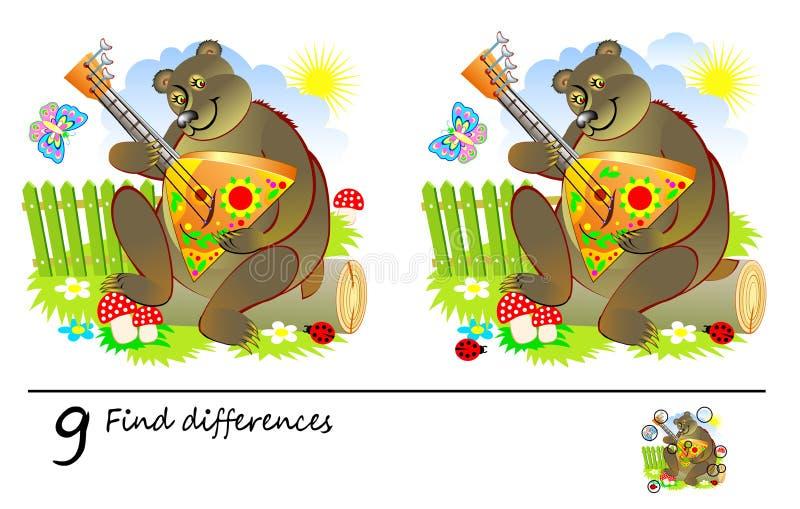 Jogo do enigma da lógica para crianças e adultos Necessidade de encontrar 9 diferenças Habilidades tornando-se para contar ilustração stock
