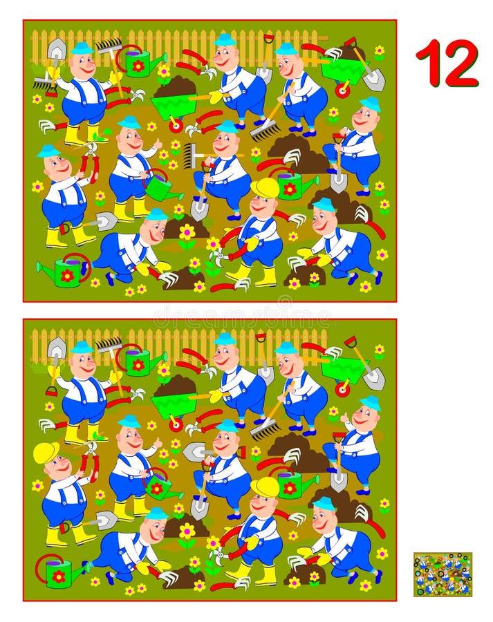 Jogo do enigma da lógica para crianças e adultos Necessidade de encontrar 12 diferenças Habilidades tornando-se para contar Image ilustração stock