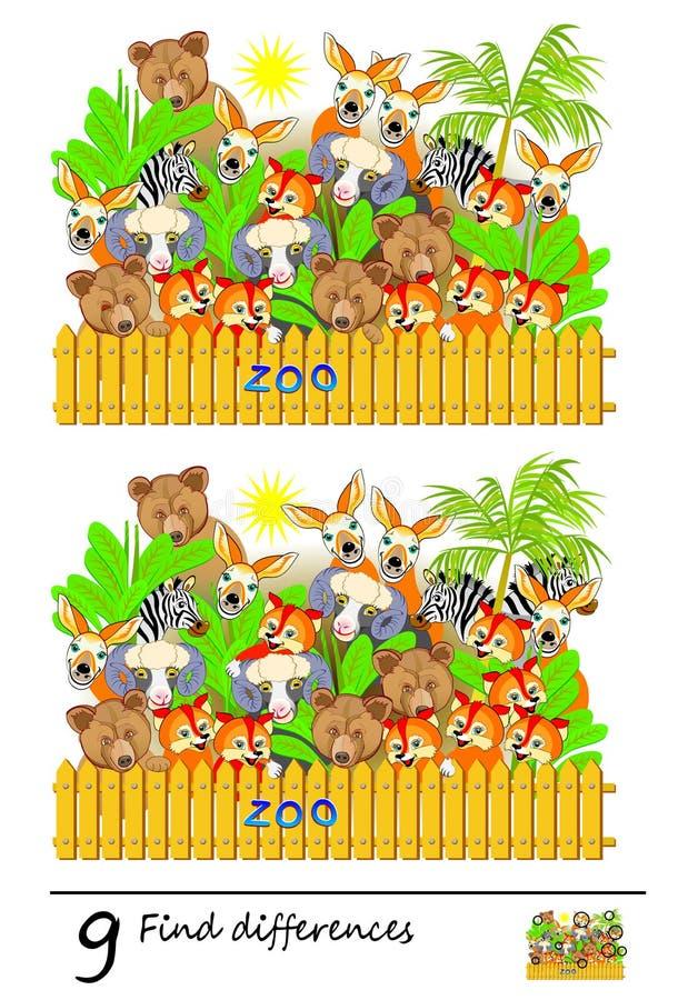 Jogo do enigma da lógica para crianças e adultos Necessidade de encontrar 9 diferenças Página imprimível para o livro do bebê Hab ilustração royalty free