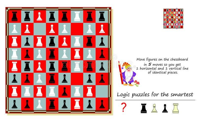 Jogo do enigma da lógica para figuras do movimento o mais esperto no tabuleiro de xadrez em 5 movimentos assim que você obtém 1 l ilustração royalty free
