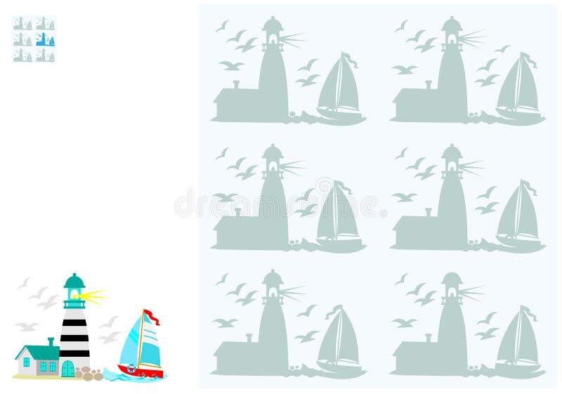 Jogo do enigma da lógica para jovens crianças Precise de encontrar a sombra corresponder a imagem Habilidades tornando-se para co ilustração stock