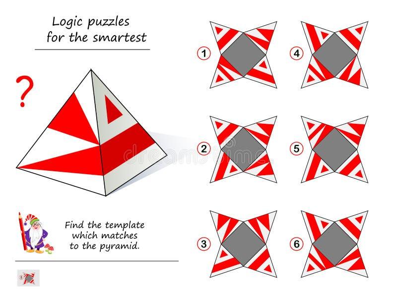 Jogo do enigma da lógica para mais esperto de que amostra pode você instalar esta pirâmide? Página imprimível para o livro do que ilustração do vetor