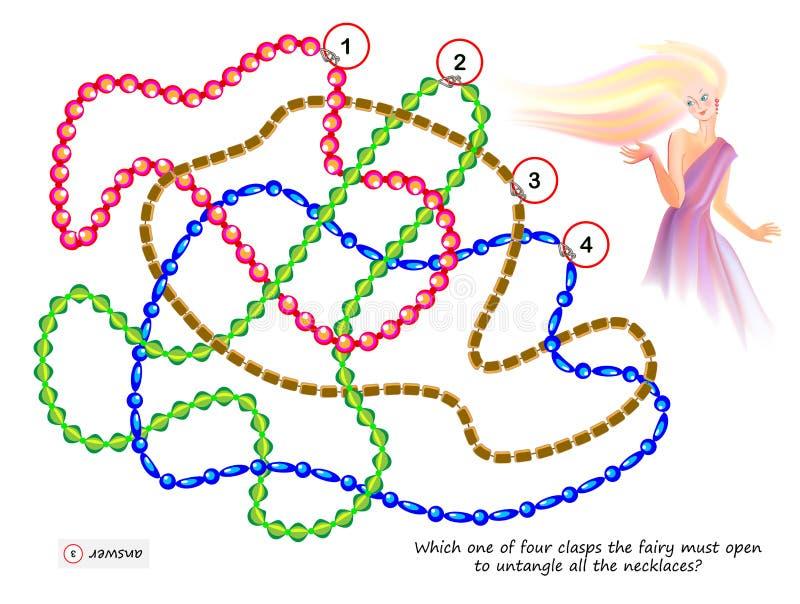 Jogo do enigma da lógica para mais esperto qual de quatro fechos que a fada deve abrir para desembaraçar todas as colares? ilustração do vetor