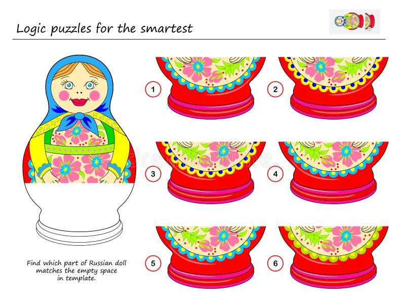 Jogo do enigma da lógica para o achado o mais esperto que parte de fósforos da boneca do russo o espaço vazio no molde ilustração royalty free