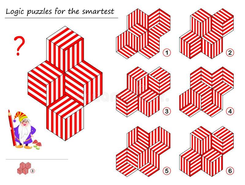 Jogo do enigma da lógica para o molde o mais esperto do achado que corresponde à figura geométrica P?gina imprim?vel para o livro ilustração royalty free
