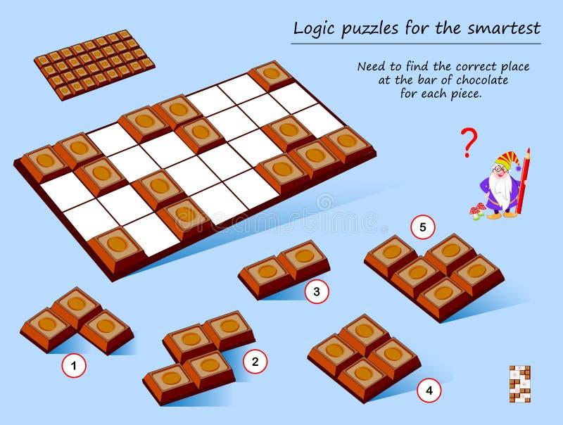 Jogo do enigma da lógica para que a necessidade a mais esperta encontre o lugar correto na barra de chocolate para cada parte ilustração do vetor