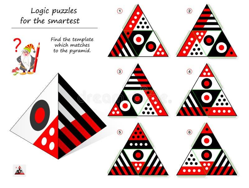 Jogo do enigma da lógica para que a necessidade a mais esperta encontre o molde que fósforos à pirâmide P?gina imprim?vel para o  ilustração royalty free