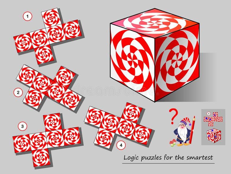 Jogo do enigma da lógica para que a necessidade a mais esperta encontre o molde que fósforos ao cubo P?gina imprim?vel para o liv ilustração do vetor