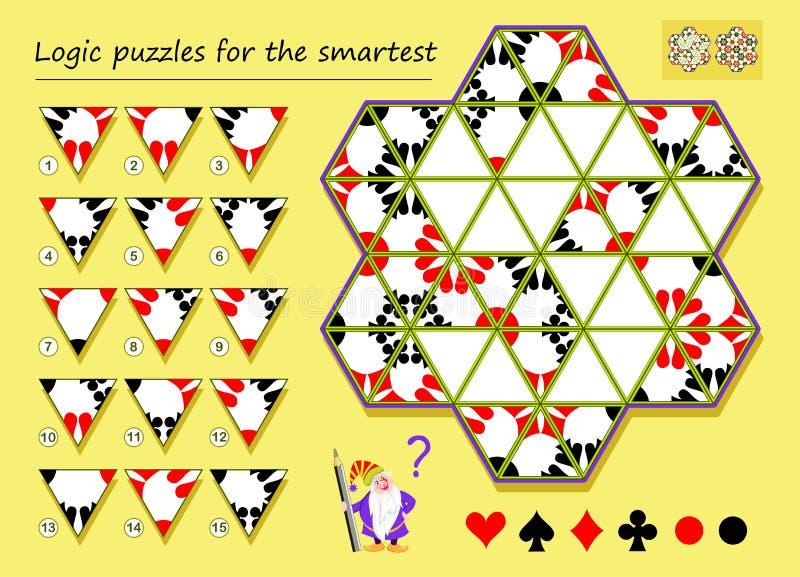 Jogo do enigma da lógica para que a necessidade a mais esperta encontre os lugares corretos para triângulos restantes e tirem-nos ilustração royalty free