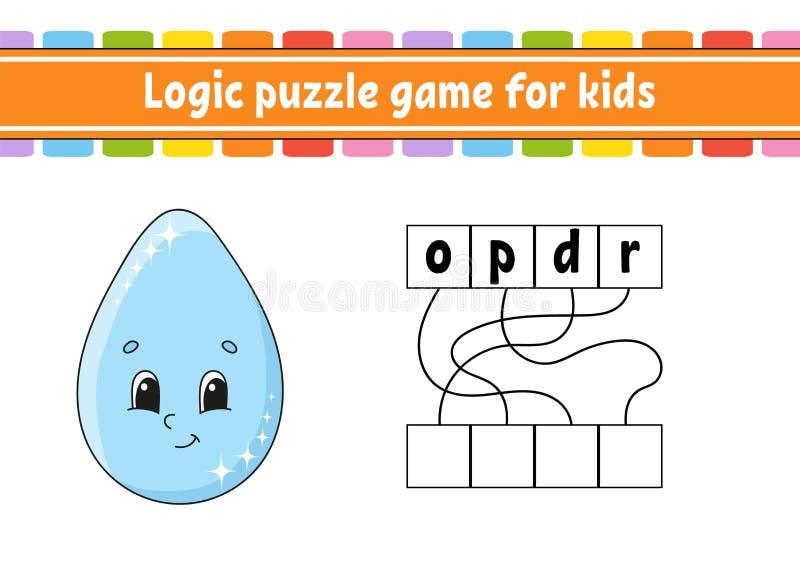 Jogo do enigma da l?gica Aprendendo palavras para crian?as Encontre o nome escondido Folha tornando-se da educa??o P?gina da ativ ilustração do vetor