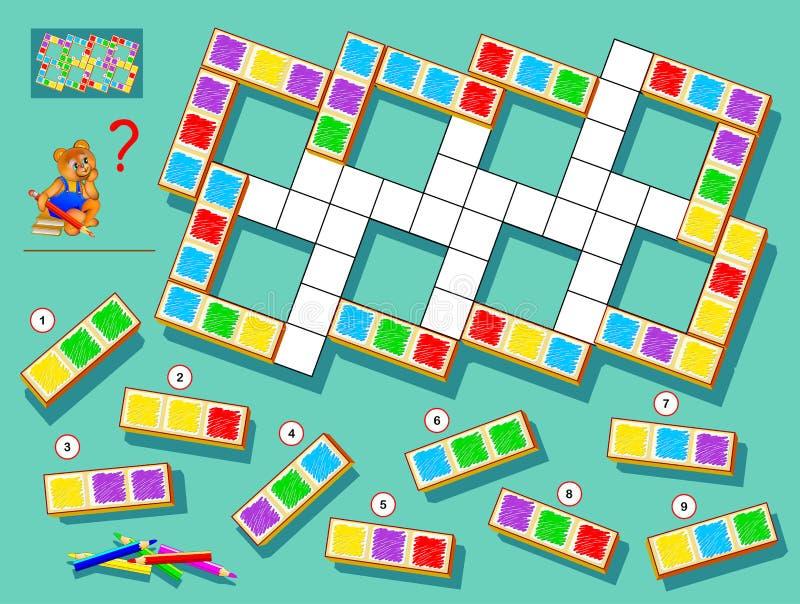 Jogo do enigma da l?gica para crian?as e adultos Encontre lugares corretos para blocos restantes e pinte os quadrados brancos ilustração stock