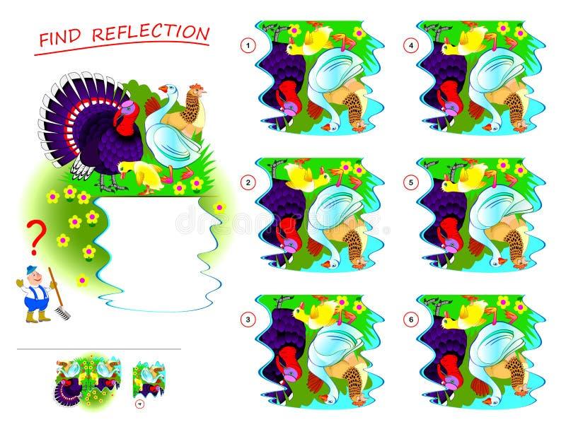 Jogo do enigma da l?gica para crian?as Precise de encontrar a reflexão correta de pássaros da exploração agrícola em uma poça e d ilustração stock