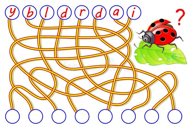 Jogo do enigma da l?gica para o ingl?s do estudo com labirinto Encontre os lugares corretos para letras, escreva-as em c?rculos r ilustração stock