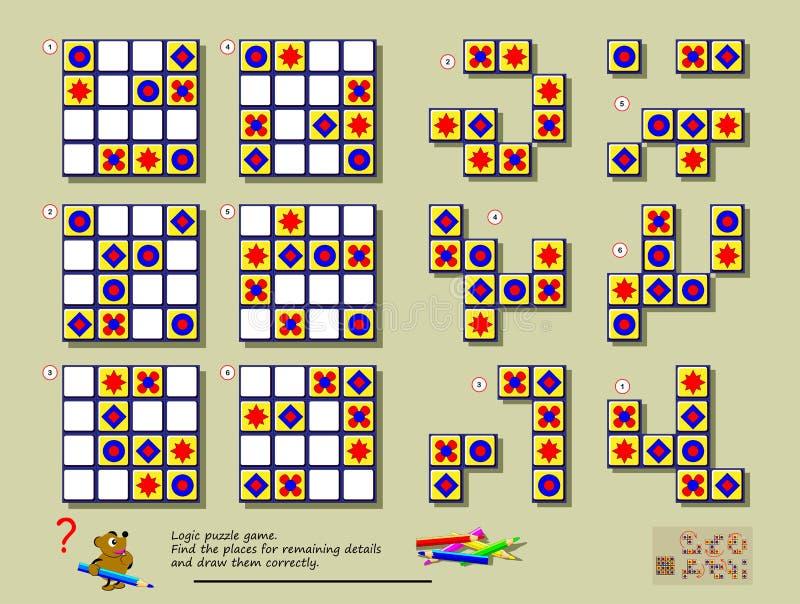 Jogo do enigma da l?gica Precise de encontrar lugares corretos para cada um de figuras geométricas para terminar lugares vazios ilustração do vetor