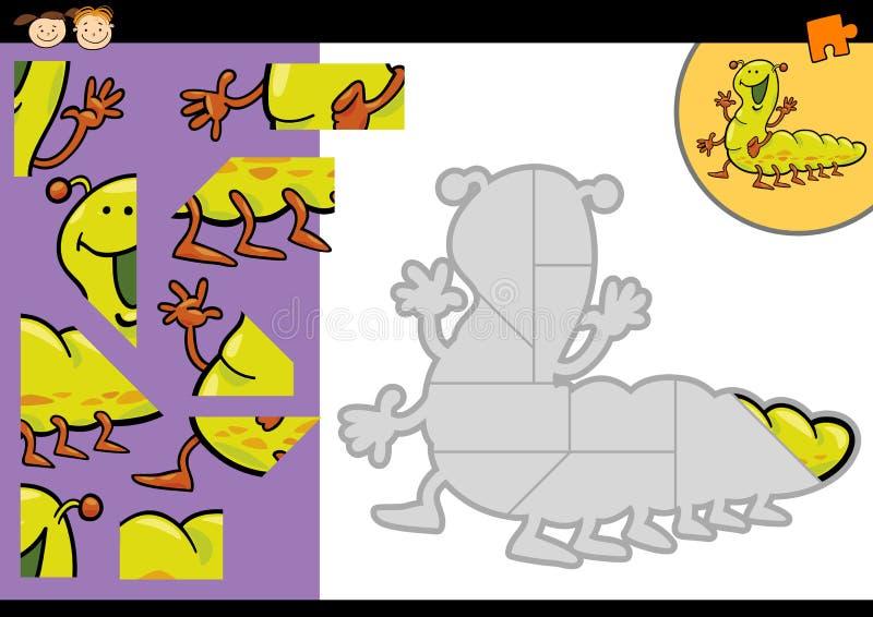 Jogo do enigma de serra de vaivém da lagarta dos desenhos animados ilustração do vetor