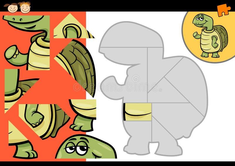 Jogo do enigma de serra de vaivém da tartaruga dos desenhos animados ilustração stock